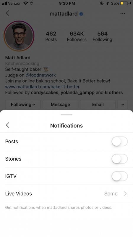Ontvang posting updates van je favoriete accounts