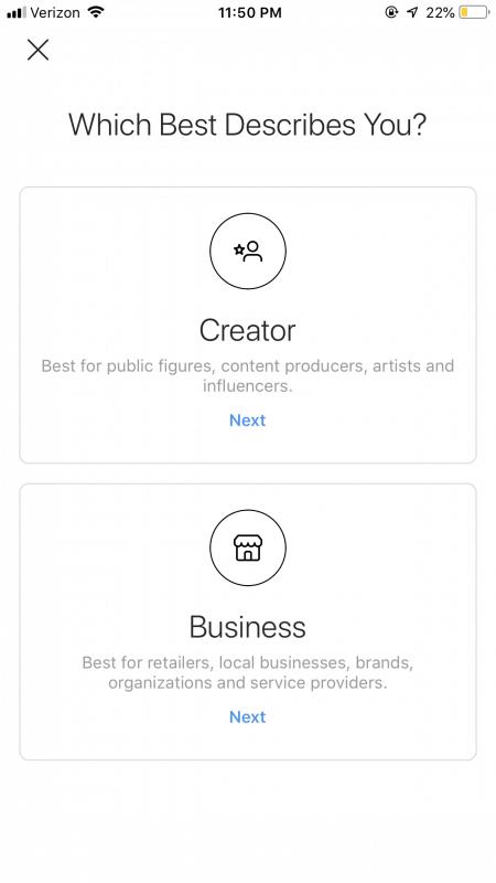 Choose between a Company or Creator account