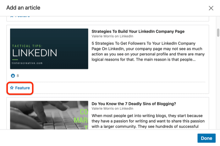 Highlight an article that you posted on LinkedIn
