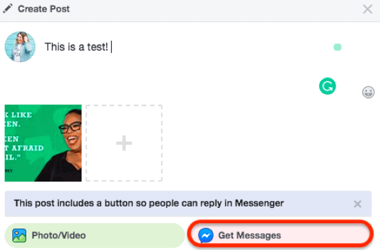 """Encourage conversations with organic messenger with """"send message"""" news feed posts"""
