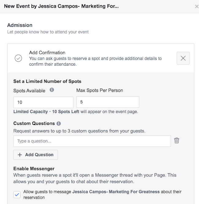 Start a Facebook conversation with people signing up for your Facebook event
