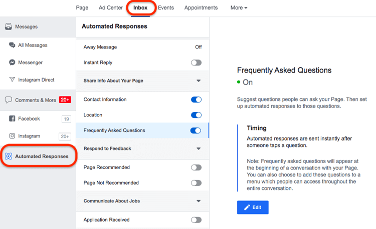 Answer FAQs of customers in Messenger via Automated Responses