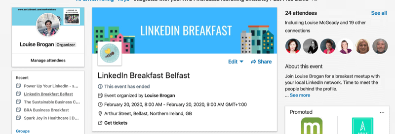 What is LinkedIn Event Feature