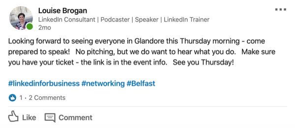 Share a Post to the LinkedIn Event Feed