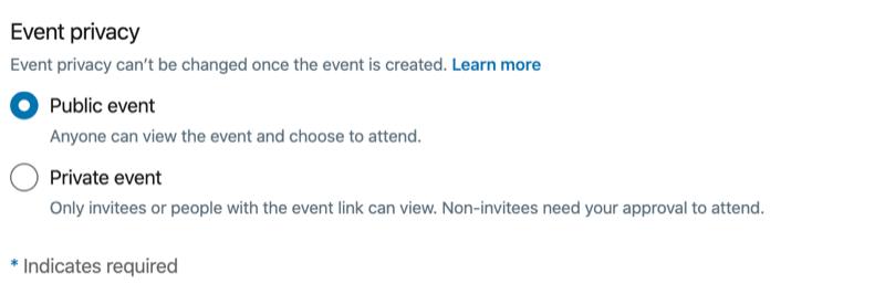 Config LinkedIn Event Privacy Preferences