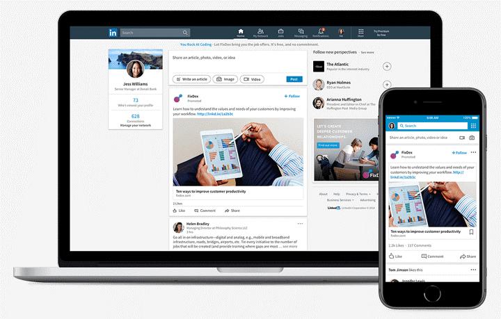 Linkedin UI on desktop and Mobile