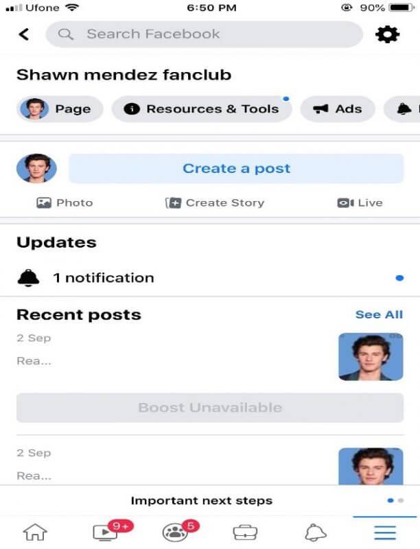 Choose the settings icon