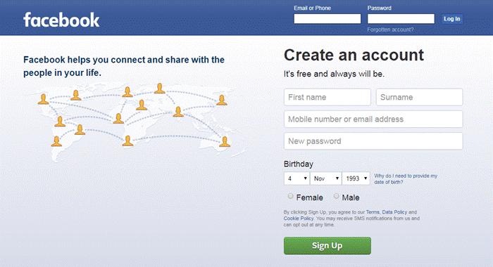 Open Facebook en log in met je gebruikers-ID en wachtwoord