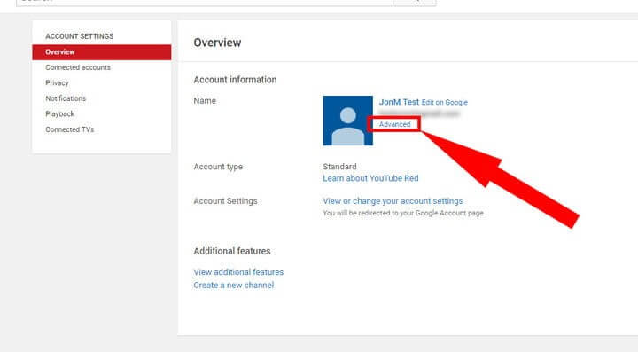 CLICK 'ACCOUNT SETTINGS' AND GO TO OVERVIEW