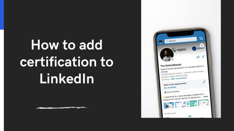 how to add certification to LinkedIn