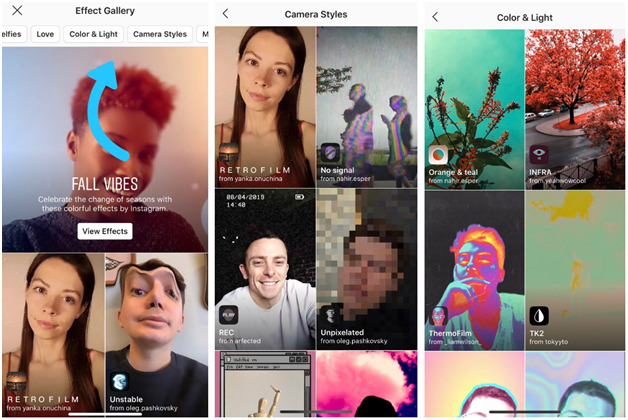 how you can search filters on Instagram