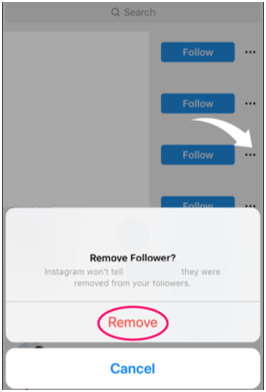 volger verwijderen op instagram