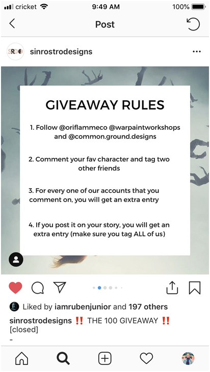 running a giveaway on instagram