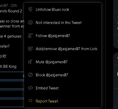 Steps to reports a tweet