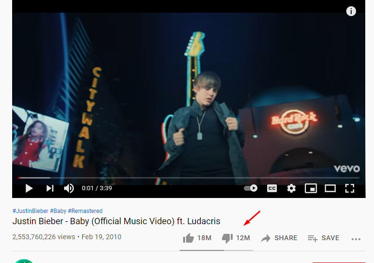 what is the most disliked video on youtube